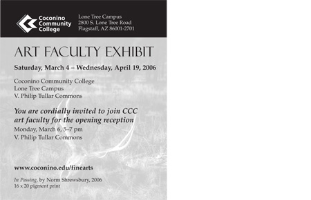 Faculty Art Show Postcard (back)